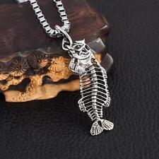 "Cool Men's LF Stainless Steel Skull Fishbone Pendant Necklace 22"""