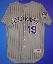 COLORADO ROCKIES EDDIE GAILLARD TEAM ISSUED MLB ROAD PINSTRIPE JERSEY