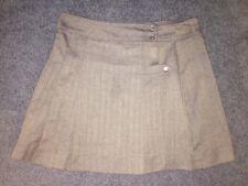 "Schoolbelles Girls Uniform Skirt Gray Herringbone 30"" Wrap Adjustable Waist 17""L"