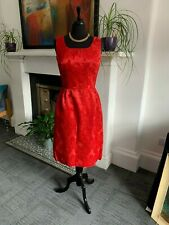 ELEGANT RED VINTAGE TAILOR MADE KNEE LENGTH DRESS 1950'/60's