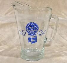 """Vtg Pabst Blue Ribbon Pbr 9"""" Tall Heavy Glass Beer Pitcher Milwaukee Wisconsin"""