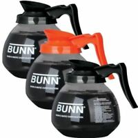 BUNN Coffee Pot Decanter Carafe - Set of 3 - 2 Black Regular and 1 Orange Decaf