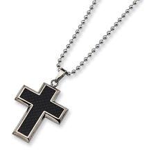 """Chisel Titanium Black Carbon Fiber Cross 22in Necklace 22"""""""