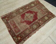 Vintage Faded Red Shabby Chic Kilim Rug 3x5 Turkish Handwoven Wool Anatolian Rug