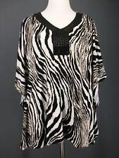 JM COLLECTION Top 1X Liquid Knit Oversized Embellished Zebra Tiger Print Poncho