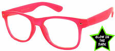 GLOW IN THE DARK VINTAGE RETRO OWL CLEAR LENS SUNGLASSES PARTY RED