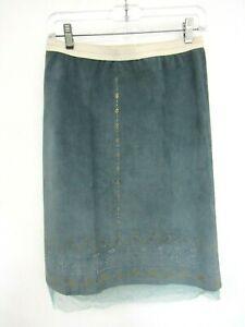 Rozae Nichols Size S Skirt Silk Pull On Elastic Stretch Waist LACE BOTTOM