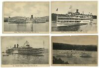 LOT OF 4 ~ Hudson River Day Line steamers ~ 4 different boats ~ 1920s postcard