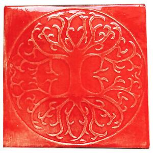 10cm Tree of Life tile in Scarlet colour glaze, Handmade in U.K.