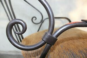 Vintage Wrought Iron Chair Hand Forged Heavy Patio Chair Comfortable Unique Furn