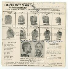Wanted Notice - Murray Jackson/Escaped Convict - Tallahassee, Florida - 1935