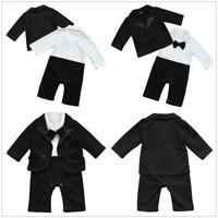 Baby Boys Wedding Christening Formal Tuxedo Suit Romper Coat Outfit Clothing Set