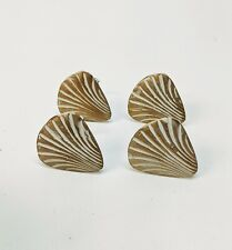 RETIRED Bed Bath & Beyond Brushed Bronze Napkin Rings Scallop Sea Shell Set of 4