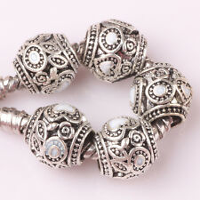 5pcs Tibetan silver love lampwork spacer beads fit Charm European Bracelet #D142