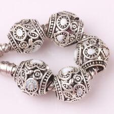 5pcs Tibetan silver love lampwork spacer beads fit Charm European Bracelet A#142