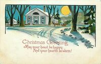 DB Postcard H446 Christmas Greetings House Snow Full Moon Horse Carriage Tree