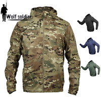 Windbreaker Mens Tactical Jacket Combat Resistant Breathable Army Hooded Casual