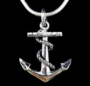 Handcrafted Solid 925 Sterling Silver 3D Nautical Boat Anchor And Rope Pendant