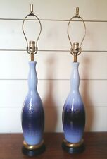 Mid Century Ceramic Table Lamps Blue Glaze & Gold Overlay Hollywood Regency