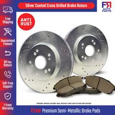 2 Cross-Drilled Disc Brake Rotors Rear Kit Fits:- Chrysler High-End 5lug 4 Semi-Metallic Pads