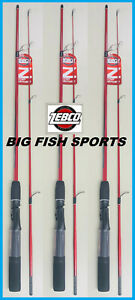"""LOT 3 SPINNING ZEBCO Z-ROD SERIES MEDIUM ACTION 6"""" foot 2-PIECE NEW RODS"""
