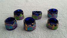 "6 Glass Napkin Rings Blue Handmade Handcrafted Custom Artistic Set 1.5"" Center"