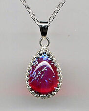 ❤️925 Sterling Silver Amazing Fire Opal Dragons Breath Mexican Teardrop Necklace