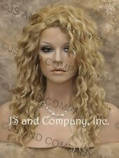 HUMAN HAIR Blend Long Wavy Golden Blonde Mix Wig Amazing WBPL 24B-613