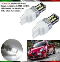 COPPIA LUCI DIURNE DRL 15 LED T20 W21W FIAT 500L LAMPADINE 6000K CANBUS no error