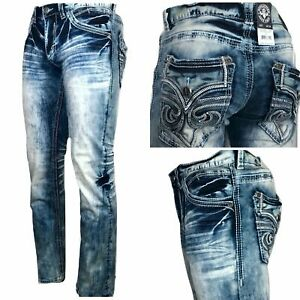 AFFLICTION ACE FLEUR VALDEZ-L Men's Denim Jeans Blue