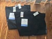 NWT DOCKERS Relaxed Fit Men's Black Comfort Pleated Pants Trousers D1