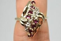 VTG Women's 2/3 tcw Natural Mined Ruby Cocktail Ring in 10k Solid Yellow Gold