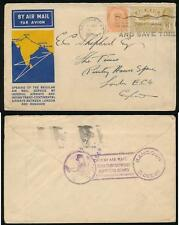 BURMA 1933 FIRST AIRMAIL ILLUSTRATED ENV to E.C SHEPHERD THE TIMES..INDIA ISSUES
