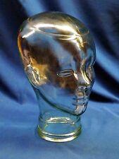"Vtg 11"" Lifesize Black Art Clear Glass Mannequin Head Form Human Deco Display"