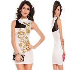 Sz 10 12 White Sleeveless Dance Party Wear Club Cocktail Formal Chic Mini Dress