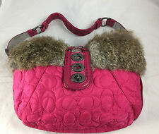 Authentic Coach #9943 Soho Ski Quilted Signature Fur Shoulder Bag