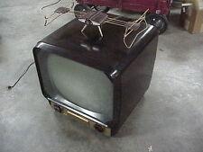 """1953 ADMIRAL 121DX12 17"""" Television Brown Bakelite TV Cabinet w ART DECO antenna"""