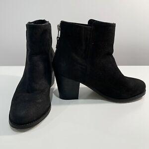 OASIS Size 36 Black Genuine Leather Black Ankle Boots - Matt Textured Finish