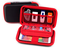 Portable Carry Case Organiser 8 x USB Sticks, Memory Cards & Accessories Red/Bla