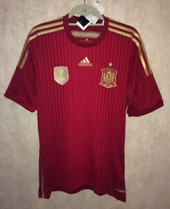 ADIDAS FEF Spain Official 13/14 Home Red Gold Soccer Jersey Shirt NEW Mens S L
