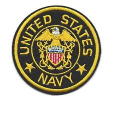 "US NAVY IRON ON PATCH 3"" Embroidered Applique United States Military Round USA"