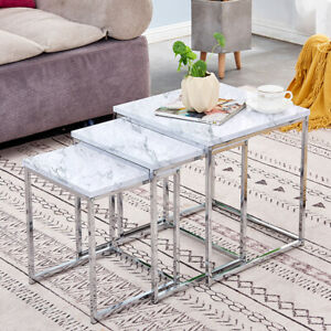 White Marble Vein Nest Of 3 Side End Coffee Nested Tables Nesting Living Room