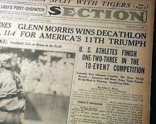 1936 SUMMER OLYMPICS Berlin Germany w/ Jesse Owens & Photos 1936 Old Newspaper