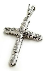 Real 10k White Gold with 1.0 ct Micro Pave Diamond Cross Pendant