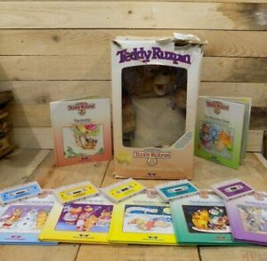 Vtg 1985 Teddy Ruxpin Orig. Box Works Mouth & Eyes Don't Move+ 5 Tapes & 7 Books