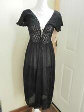 NEW APOSTRPHE  Intimates Black (Sheer) Nightgown Ruffle Sleeve Dress Size Large