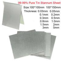 99.99% Pure Tin Metal Sheet Plate Foil Scientific 100*100mm 0.8 1 1.5 2 3 5mm