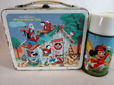 Vintage 1960's Walt Disney Mickey Mouse Club metal lunch box & thermos Aladdin