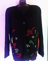 Women's Plus Size 2X,  18/20 Christmas Black Sweater, New Tag  Avenue  Cardigan