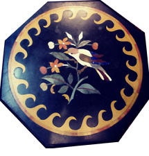 """18"""" Black Marble Side Table Top Inlay Marquetry Pietra Dura Handmade Home Decor"""